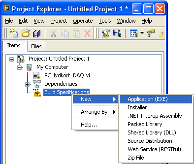 Projects in LabVIEW & Executables Projects in LabVIEW consist of VIs, files necessary for those VIs to run properly, and supplemental files such as documentation or related links.