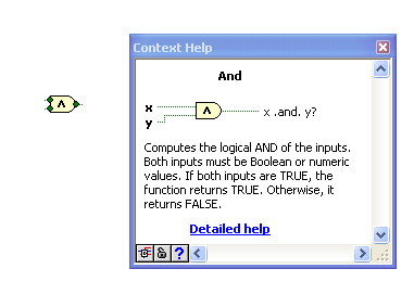 LabVIEW Help I Select Help»Show Context Help from the front panel or the block diagram Move the cursor over to the