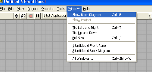 LabVIEW Blank VI (Untitled) Two windows appear Block Diagram & Front Panel The block diagram contains the graphical source code