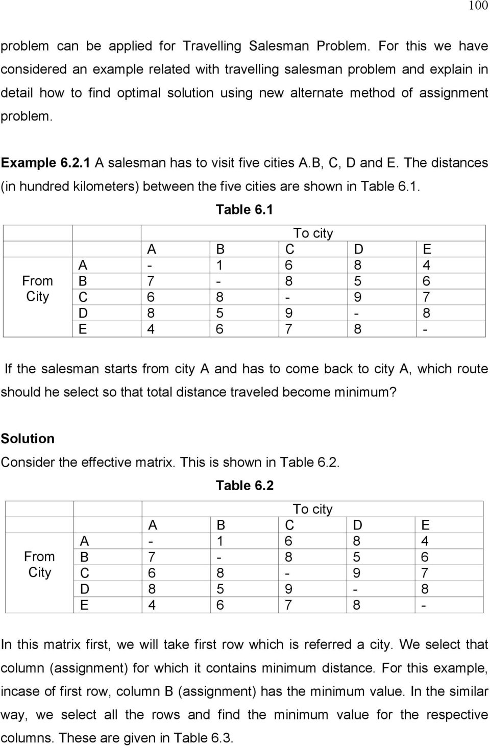 1 salesman has to visit five cities.,, and. The distances (in hundred kilometers) between the five cities are shown in Table 6.1. From ity Table 6.