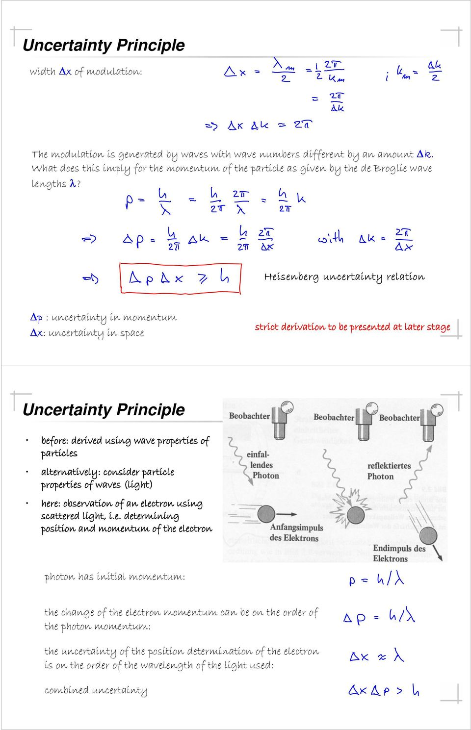 : uncertainty in momentum : uncertainty in space strict derivation to be presented at later stage Uncertainty Principle before: derived
