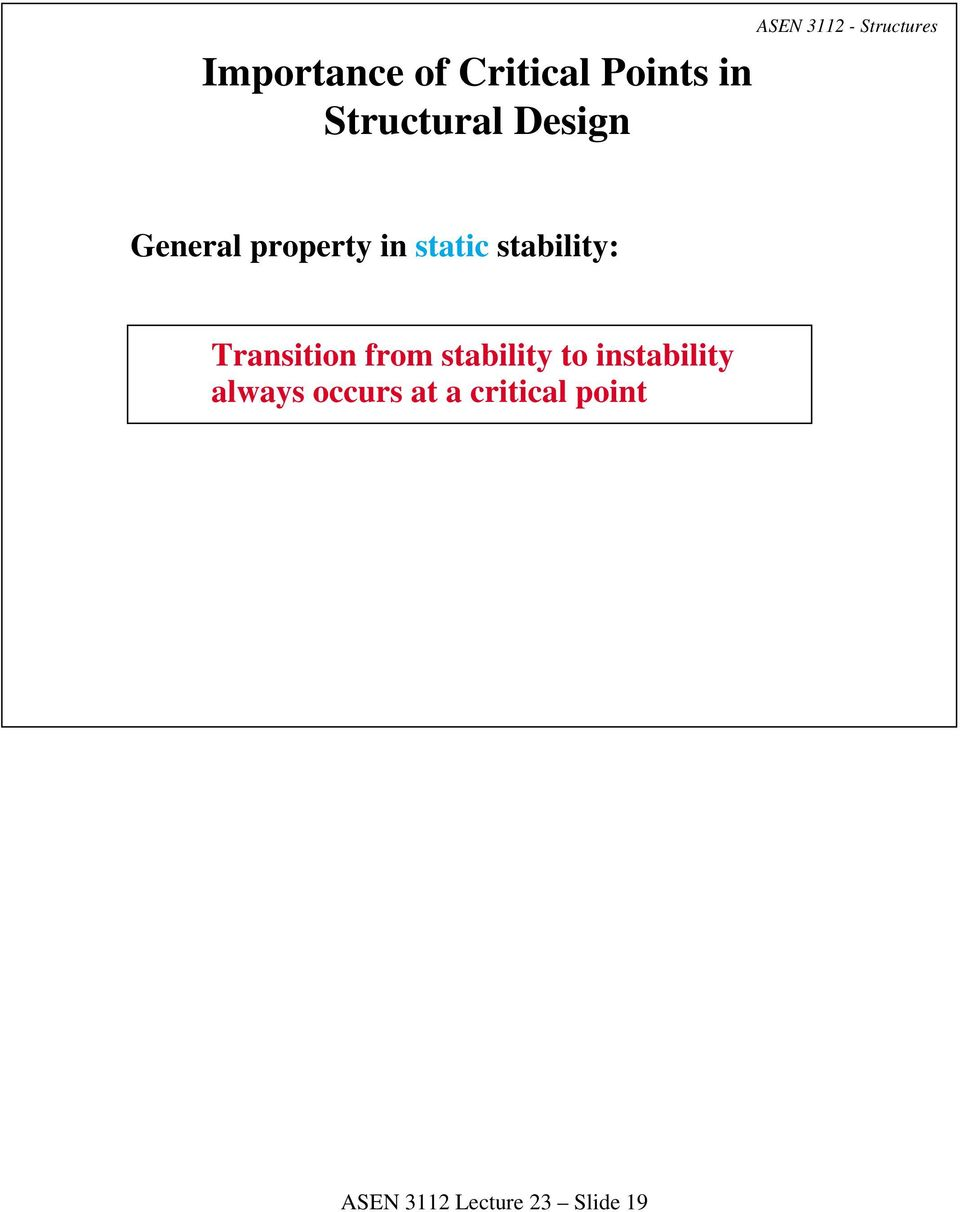 stability: Transition from stability to instability