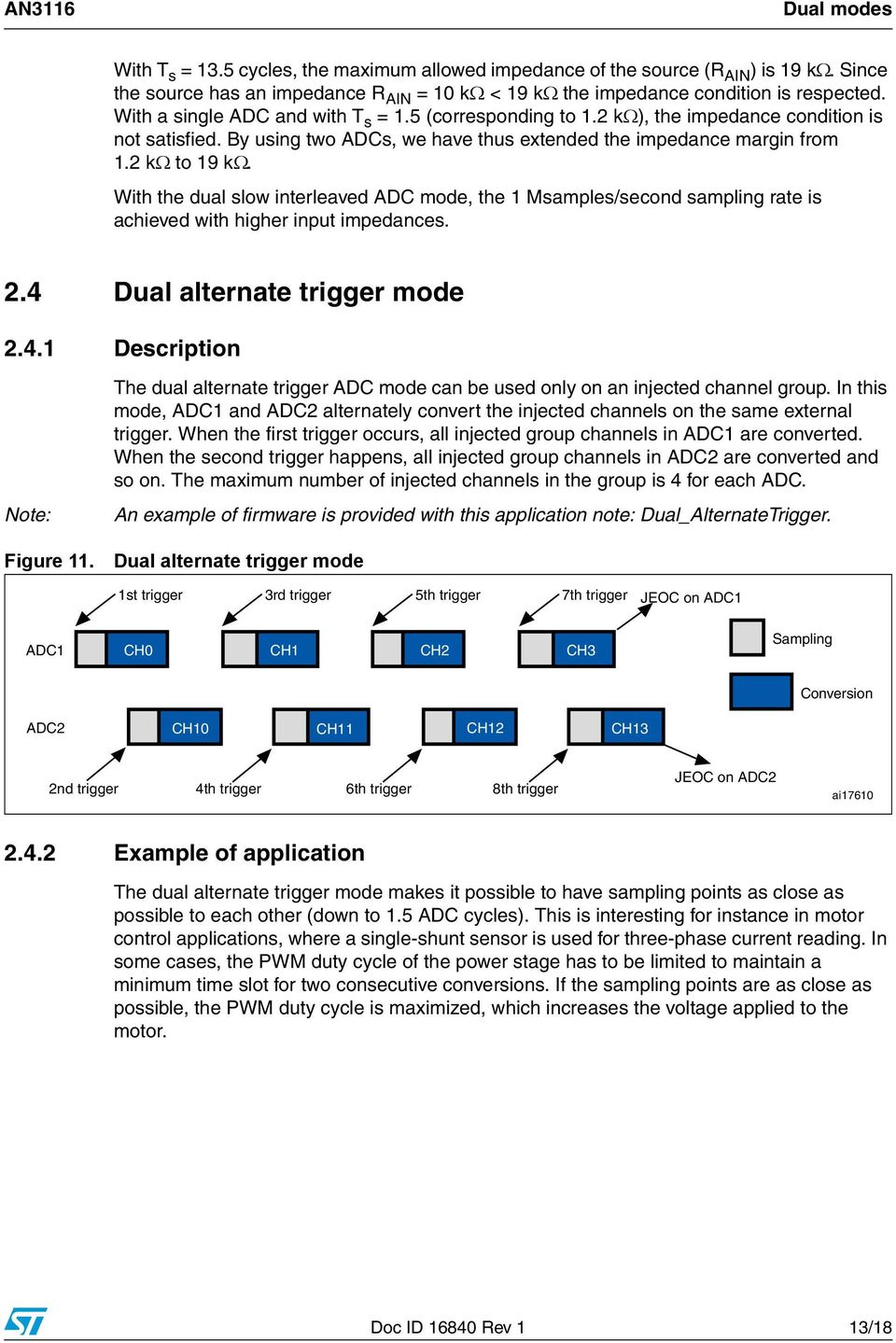 With the dual slow interleaved ADC mode, the 1 Msamples/second sampling rate is achieved with higher input impedances. 2.4 Dual alternate trigger mode 2.4.1 Description Note: Figure 11.
