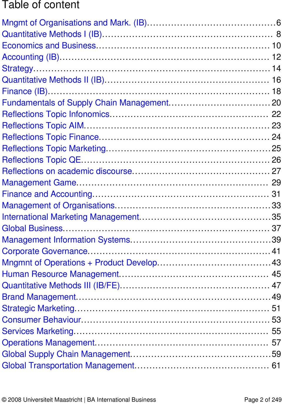 .. 25 Reflections Topic QE... 26 Reflections on academic discourse... 27 Management Game... 29 Finance and Accounting... 31 Management of Organisations... 33 International Marketing Management.