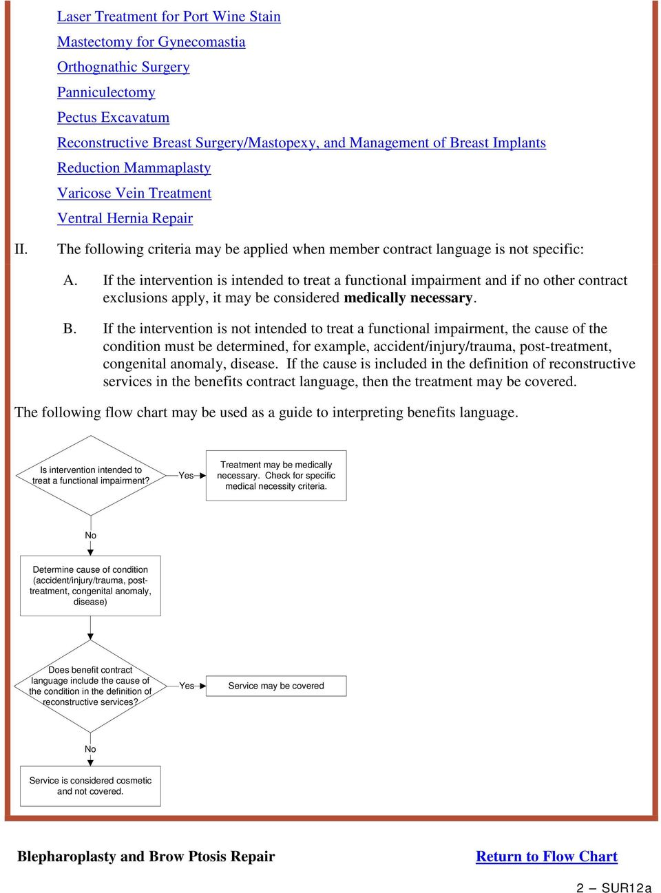 If the intervention is intended to treat a functional impairment and if no other contract exclusions apply, it may be considered medically necessary. B.
