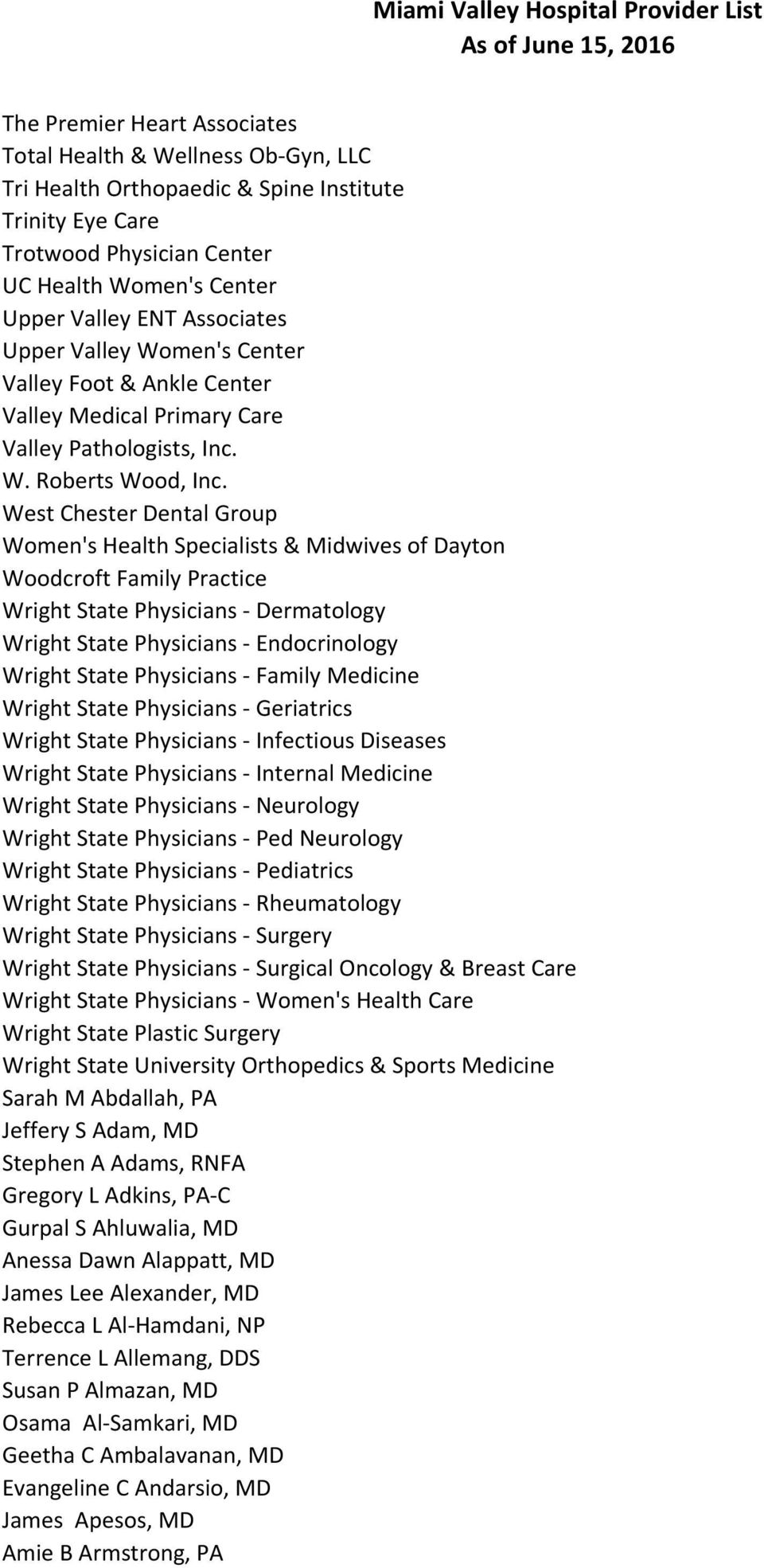 Atrium Medical Center Provider List As of June 15, PDF