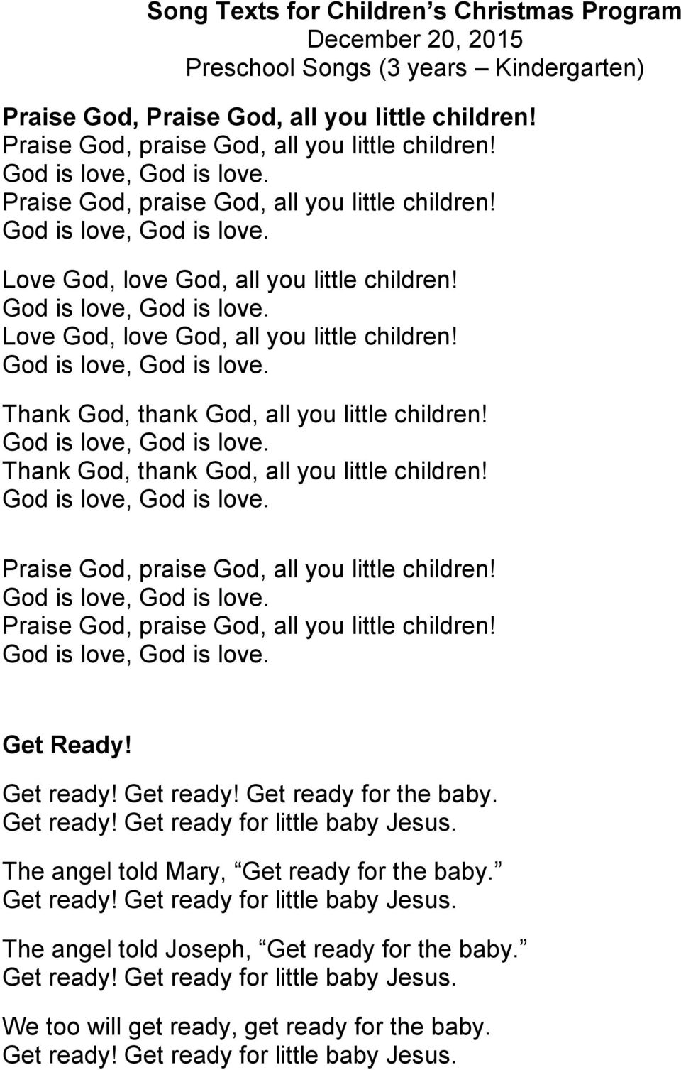 Song Texts for Children s Christmas Program December 20, 2015 ...