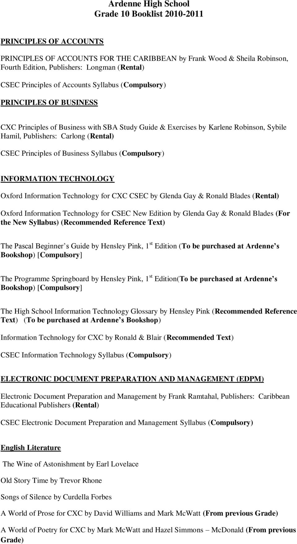 Ardenne high school grade 10 booklist pdf principles of business syllabus compulsory information technology oxford information technology for cxc csec by fandeluxe Image collections