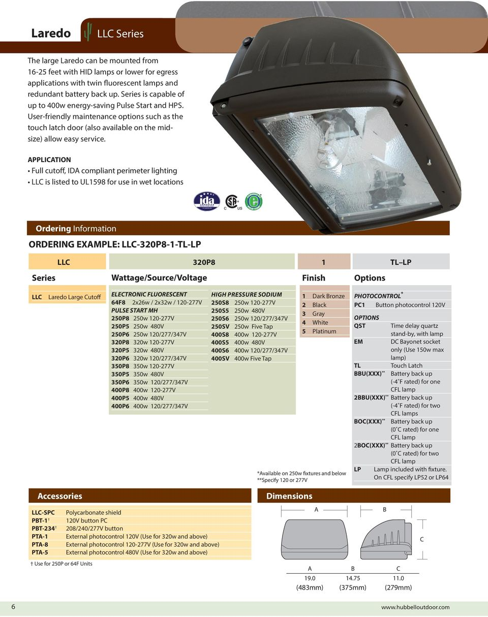 APPLICATION Full cutoff, IDA compliant perimeter lighting LLC is listed to UL1598 for use in wet locations Ordering Information ORDERING EXAMPLE: LLC-30P8-1-TL-LP LLC 30P8 1 TL LP Series
