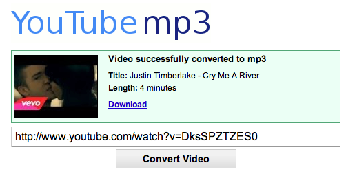 Convert the video to an mp3 - using a computer In your browser, go to youtube-mp3.org and paste in the Youtube URL. Then click: Convert Video.