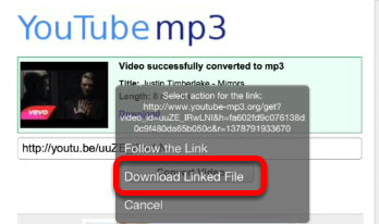 Paste your Youtube link and tap: Convert Video. Tap the download link when the video is converted.
