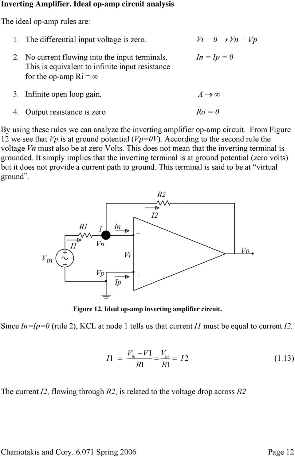 Output resistance is zero Ro = 0 By using these rules we can analyze the inverting amplifier op-amp circuit. From Figure 12 we see that Vp is at ground potential (Vp=0V).