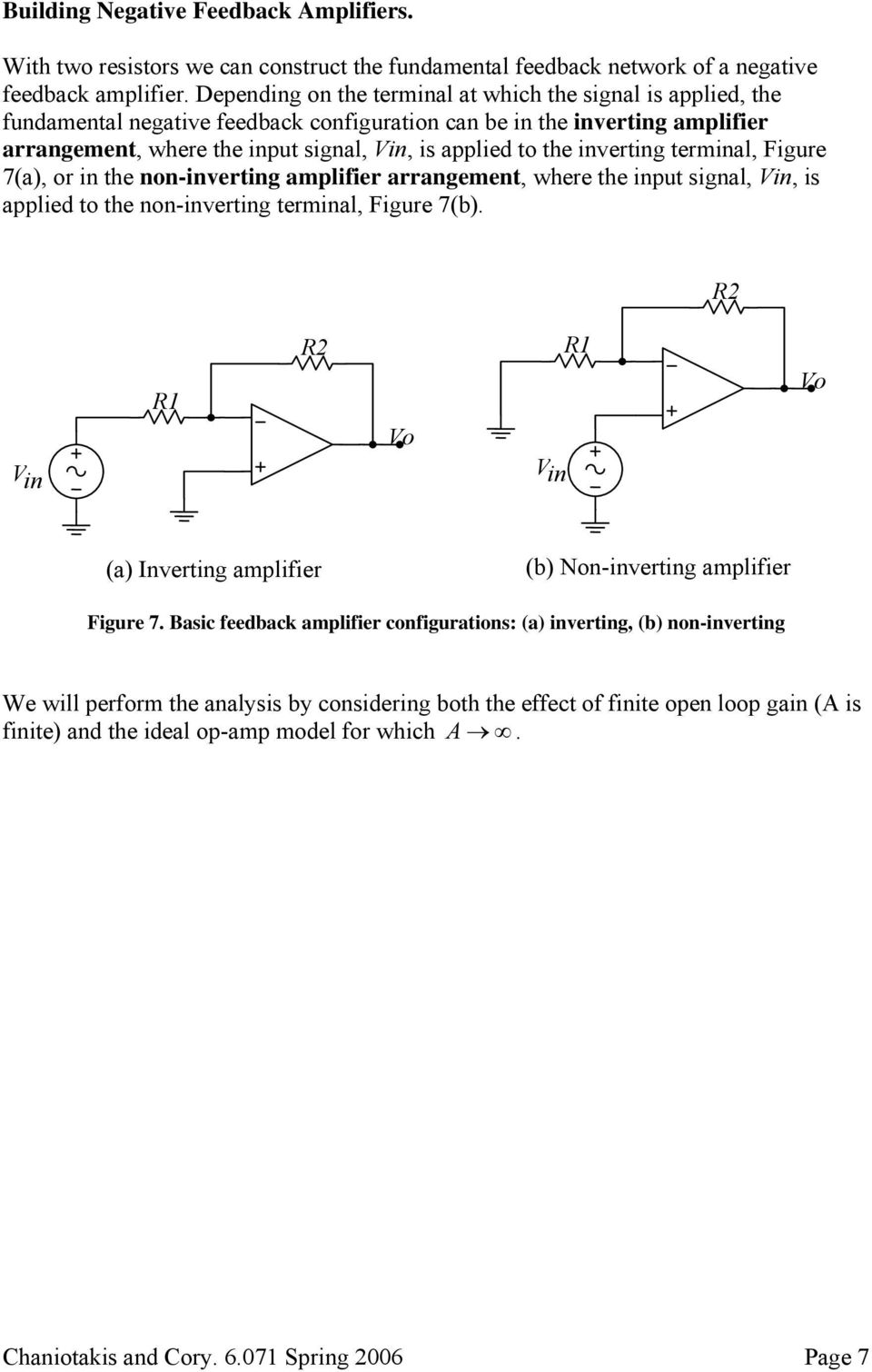 inverting terminal, Figure 7(a), or in the non-inverting amplifier arrangement, where the input signal, Vin, is applied to the non-inverting terminal, Figure 7(b).