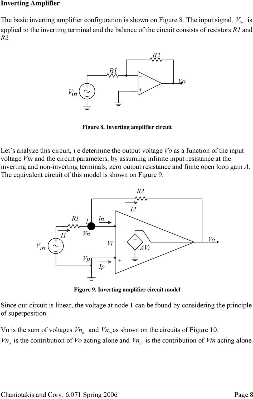 e determine the output voltage as a function of the input voltage Vin and the circuit parameters, by assuming infinite input resistance at the inverting and non-inverting terminals, zero output