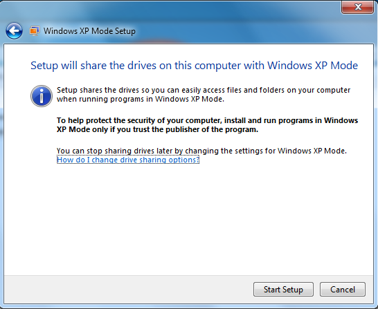 The next step is the Windows XP Mode Setup to