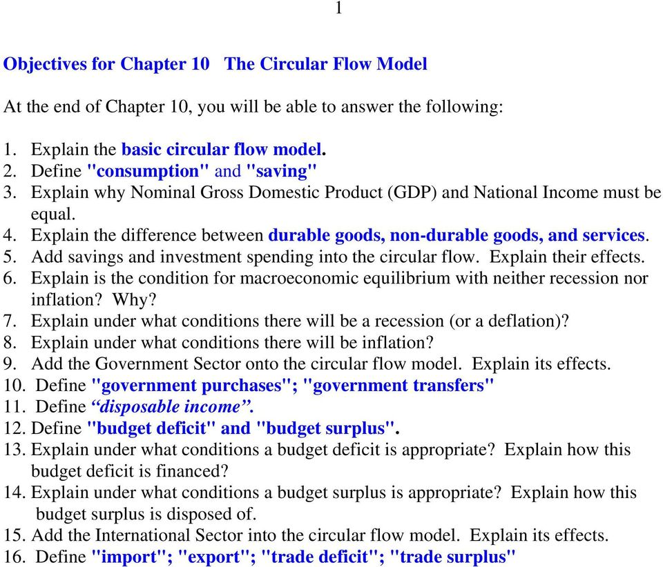 Explain the difference between durable goods, non-durable goods, and services. 5. Add savings and investment spending into the circular flow. Explain their effects. 6.