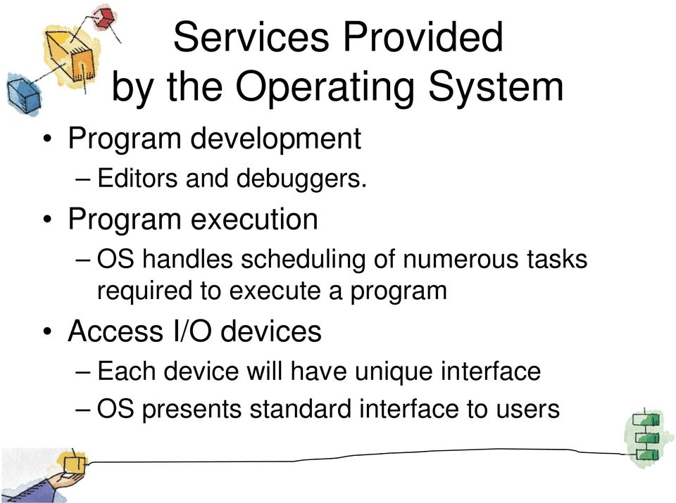Program execution OS handles scheduling of numerous tasks required