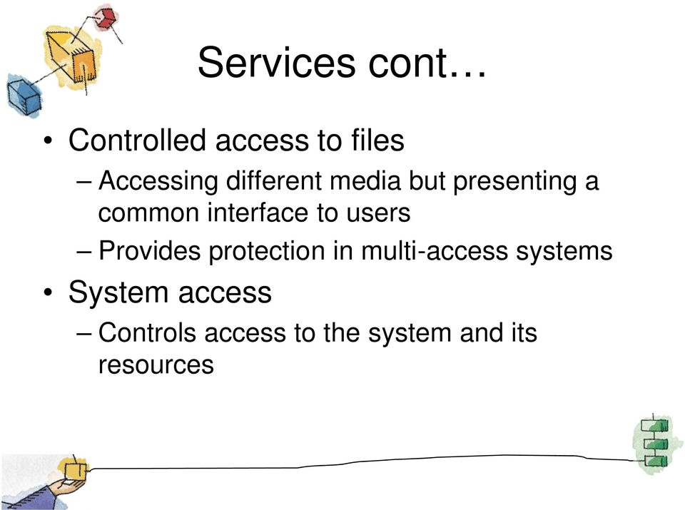 users Provides protection in multi-access systems