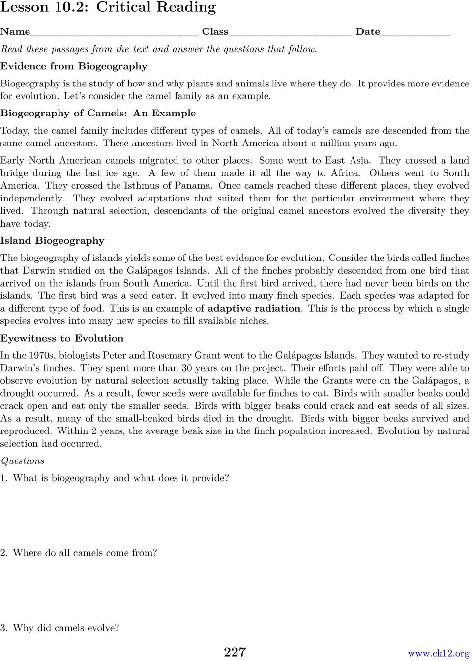Chapter 10 The Theory Of Evolution Worksheets Opening Image