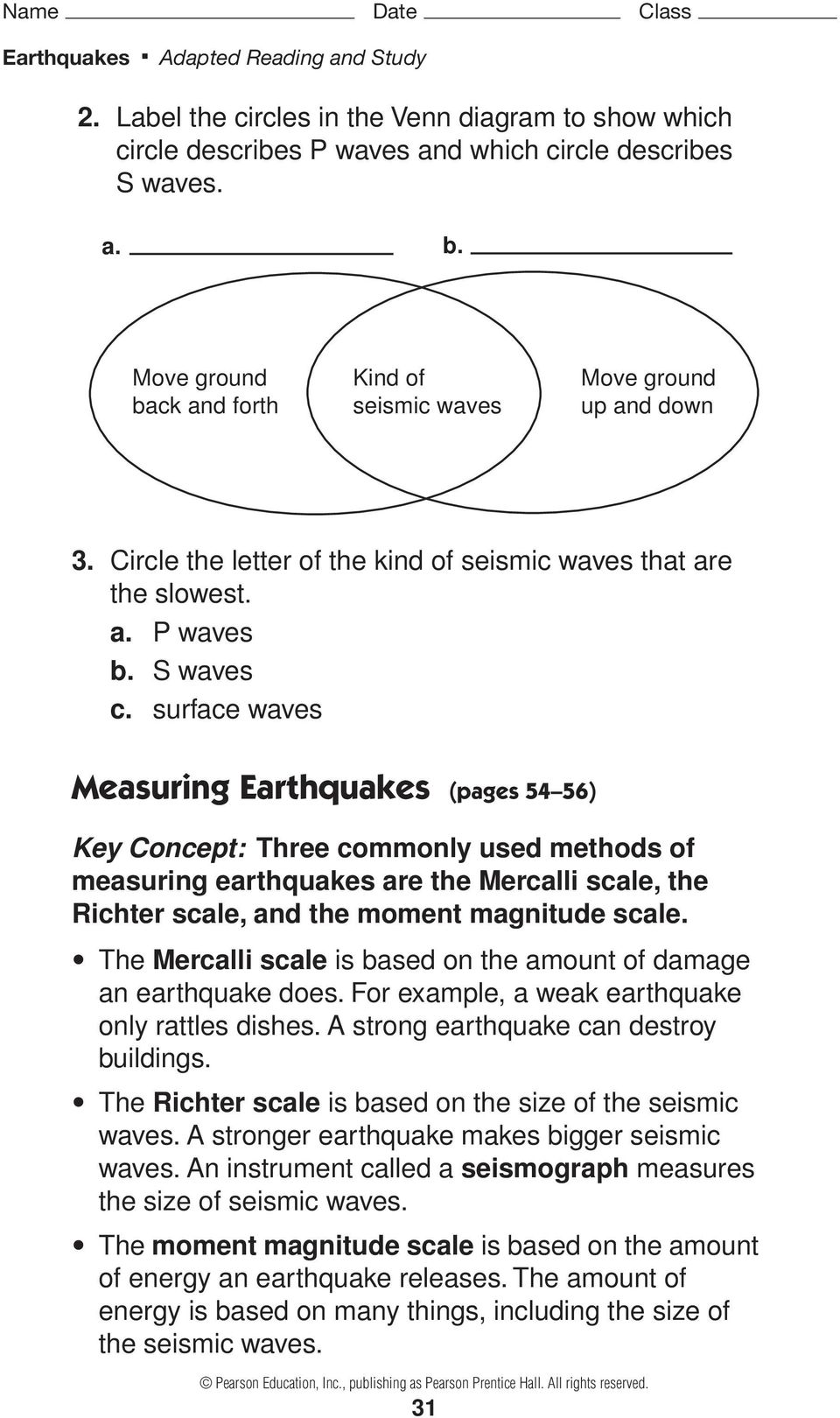 Worksheets Earthquakes And Seismic Waves Worksheet earthquakes and seismic waves pages 51 57 pdf surface measuring 54 56 key concept three commonly used methods