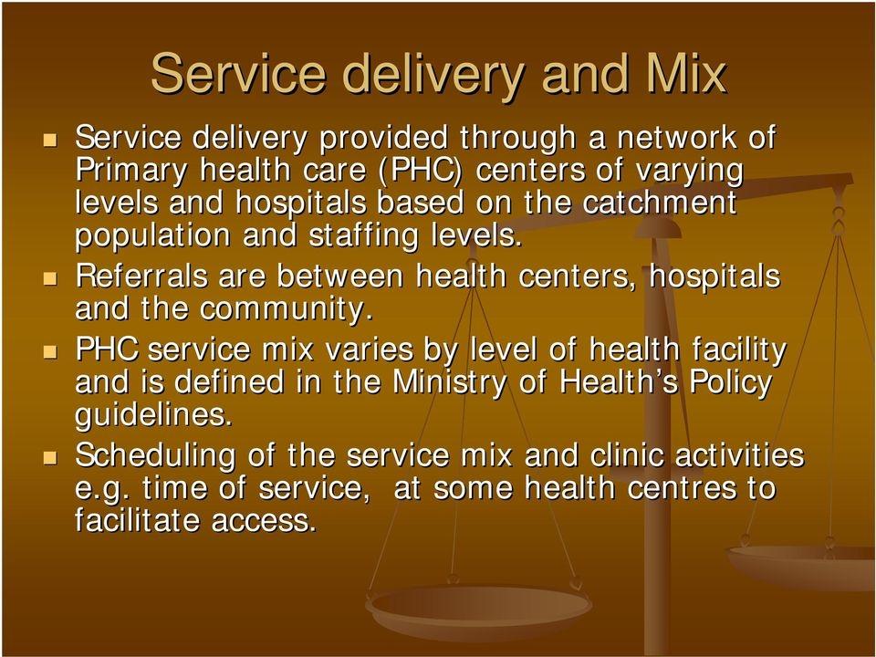 Referrals are between health centers, hospitals and the community.