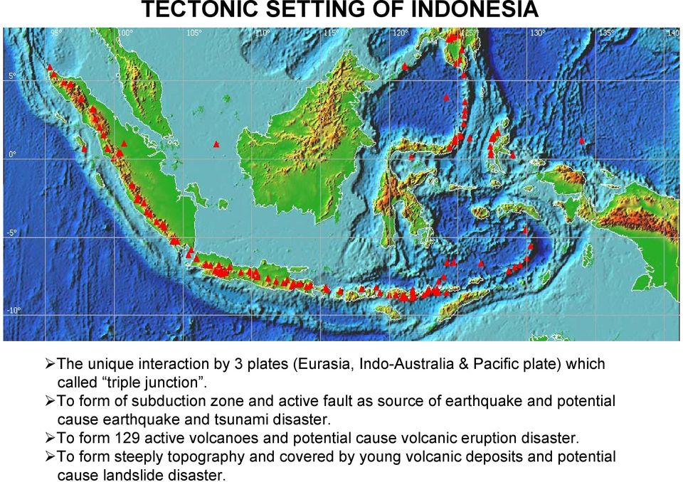 To form of subduction zone and active fault as source of earthquake and potential cause earthquake and