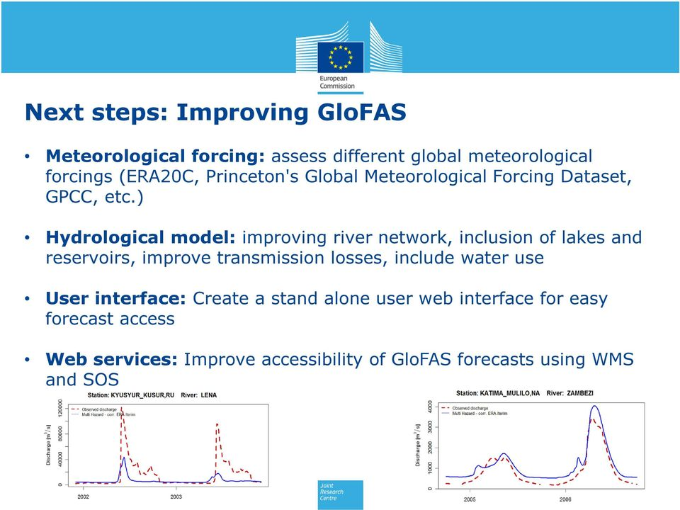 ) Hydrological model: improving river network, inclusion of lakes and reservoirs, improve transmission losses,