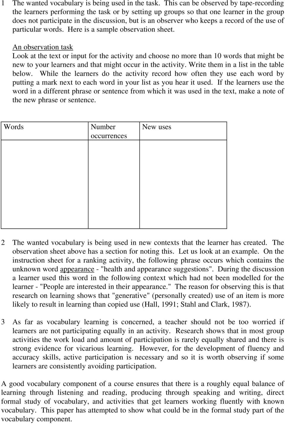 record of the use of particular words. Here is a sample observation sheet.