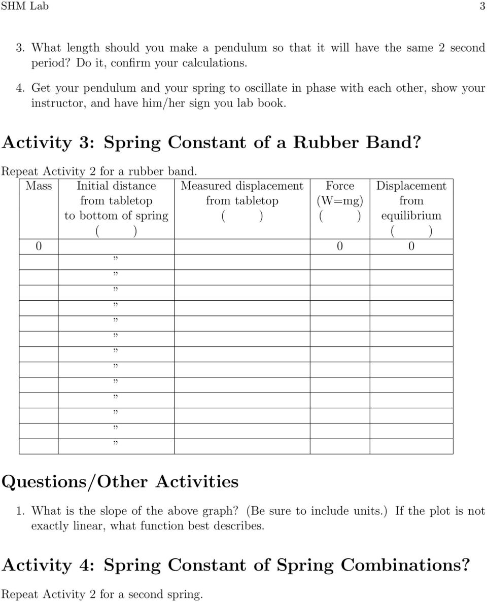 Activity 3: Spring Constant of a Rubber Band? Repeat Activity 2 for a rubber band. to bottom of spring equilibrium Questions/Other Activities 1.