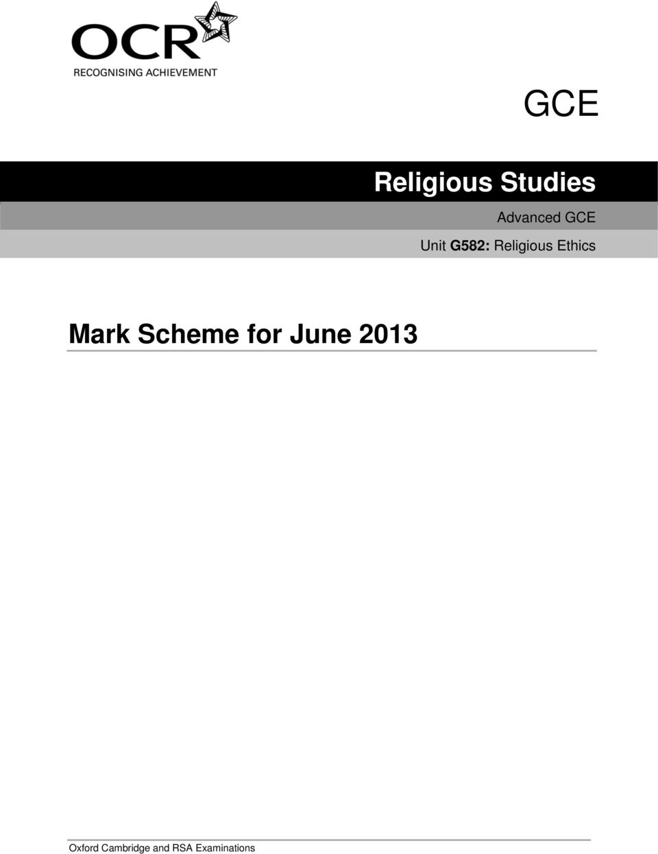 Mark Scheme for June 2013