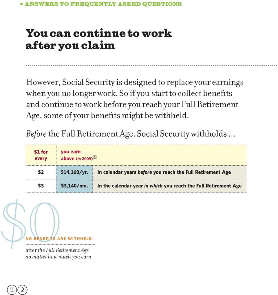 Before the Full Retirement Age, Social Security withholds... $1 for every you earn above (in 2009) 8 $2 $14,160/yr.