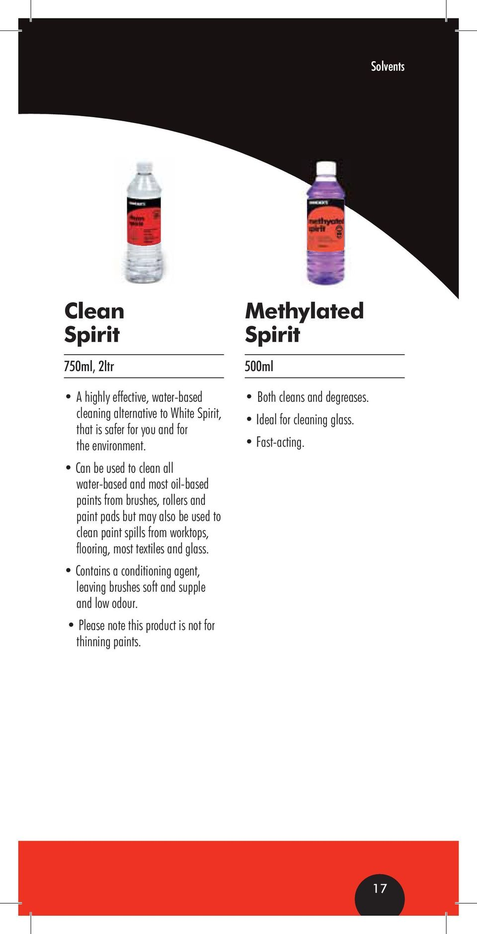 clean paint spills from worktops, flooring, most textiles and glass.