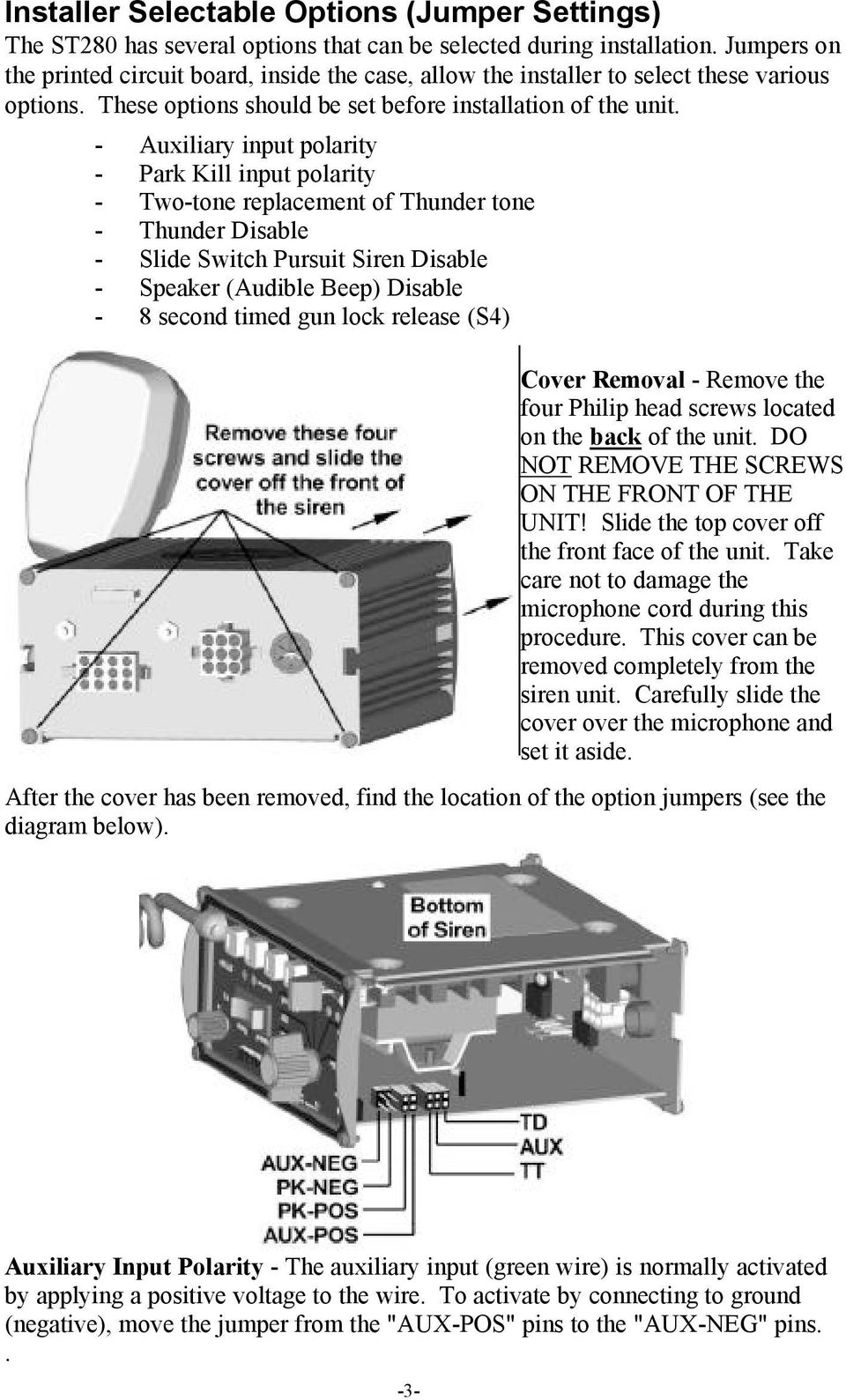 Street Thunder St280 Siren Amplifier With Light Controls Installation And Operating Instructions Pdf Free Download
