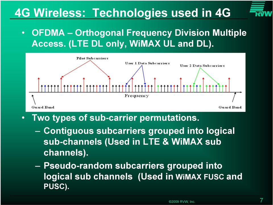 Contiguous subcarriers grouped into logical sub-channels (Used in LTE & WiMAX sub