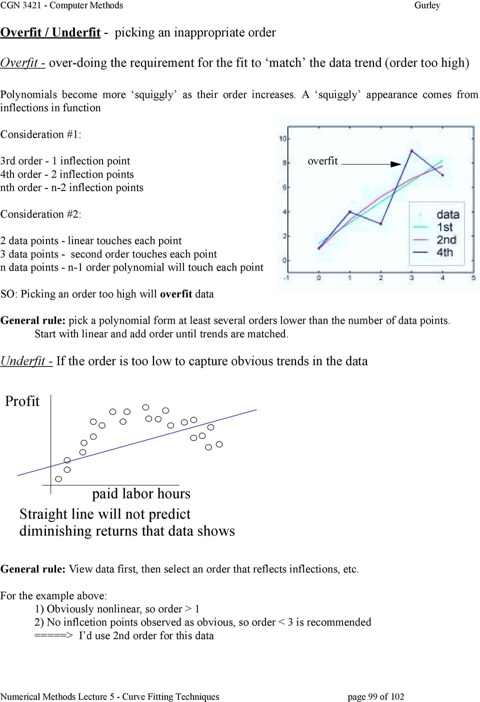 data points - linear touches each point 3 data points - second order touches each point n data points - n-1 order polynomial will touch each point SO: Picking an order too high will overfit data