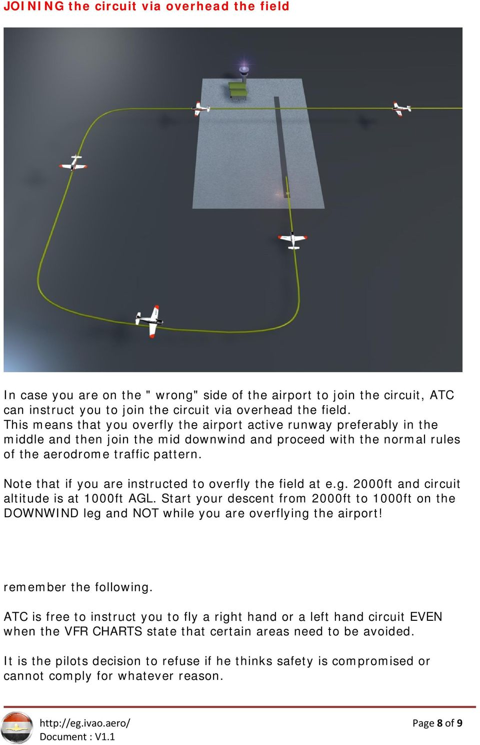 Note that if you are instructed to overfly the field at e.g. 2000ft and circuit altitude is at 1000ft AGL.