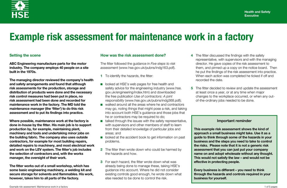 necessary risk control measures had been put in place, no risk assessment had been done and recorded for maintenance work in the factory.