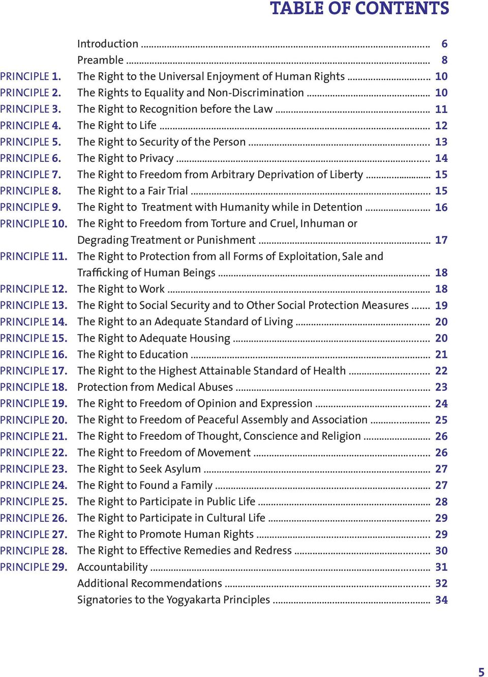 TABLE OF CONTENTS Introduction... Preamble... The Right to the Universal Enjoyment of Human Rights... The Rights to Equality and Non-Discrimination... The Right to Recognition before the Law.