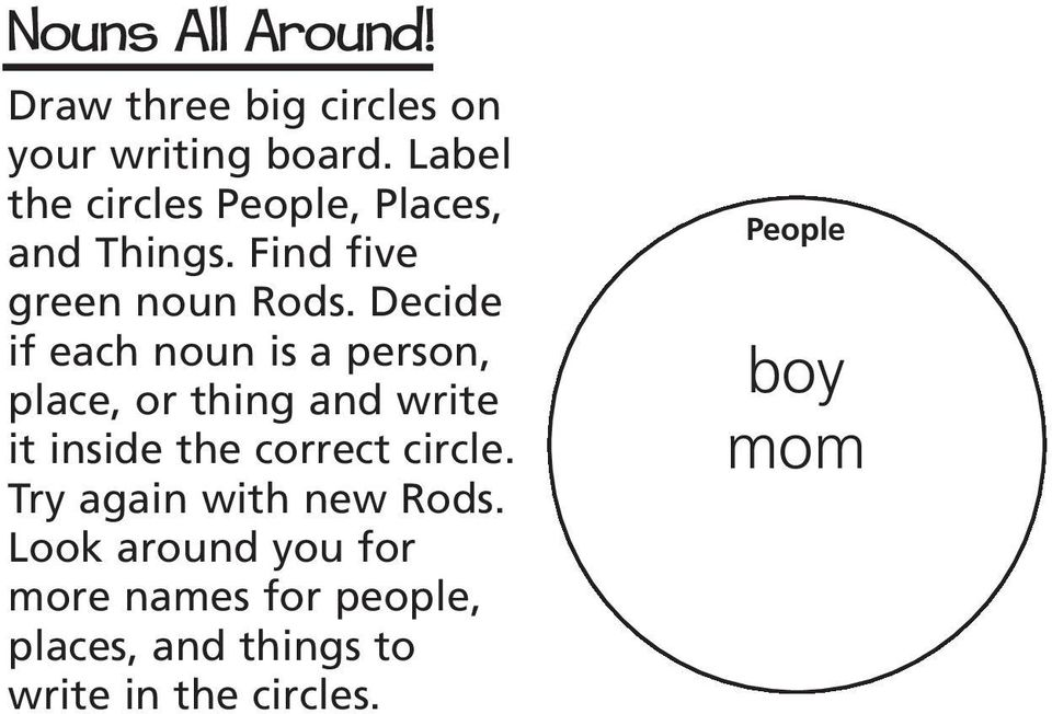 Decide if each noun is a person, place, or thing and write it inside the correct circle.