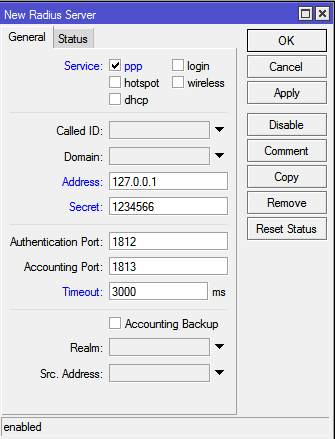 RADIUS Settings Whether or not this configuration is for a backup RADIUS server Realm also known as user domain.