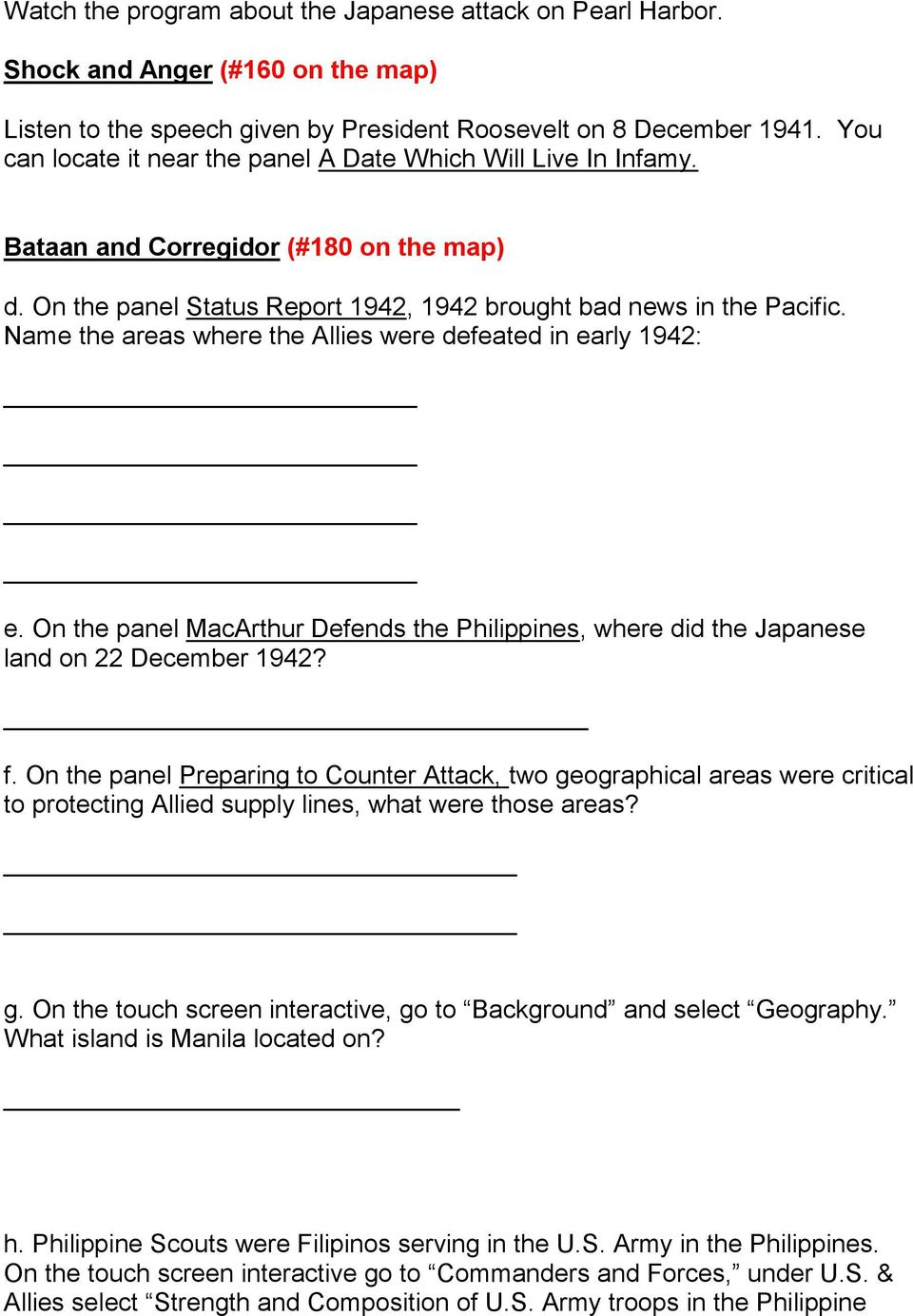 Name the areas where the Allies were defeated in early 1942: e. On the panel MacArthur Defends the Philippines, where did the Japanese land on 22 December 1942? f.