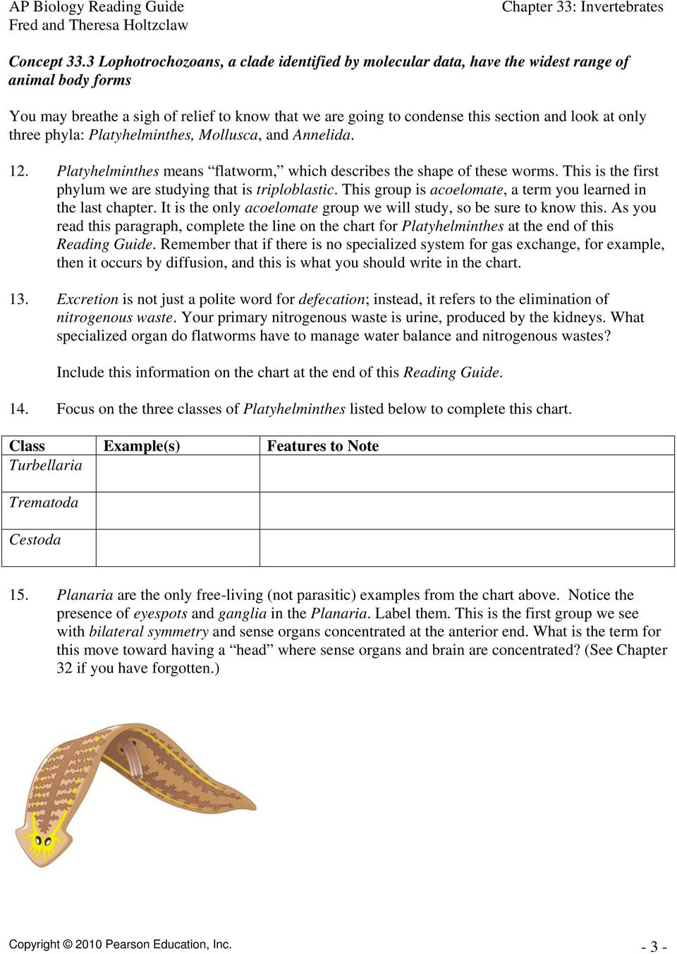 worksheet Table 3 Invertebrate Worksheet chapter 33 invertebrates pdf only three phyla platyhelminthes mollusca and annelida 12 means flatworm