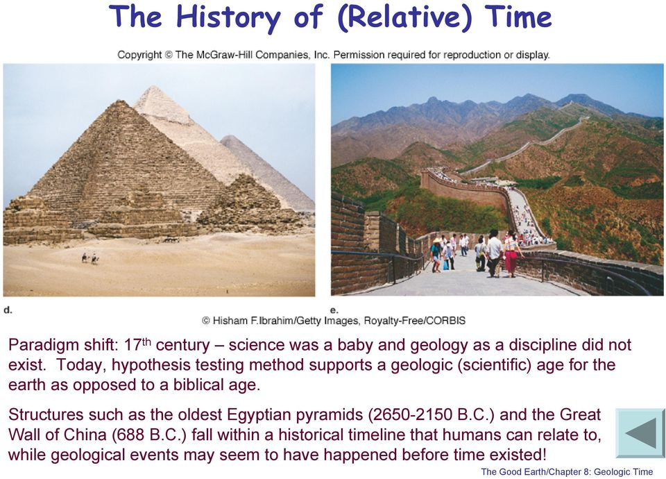 Today, hypothesis testing method supports a geologic (scientific) age for the earth as opposed to a biblical age.