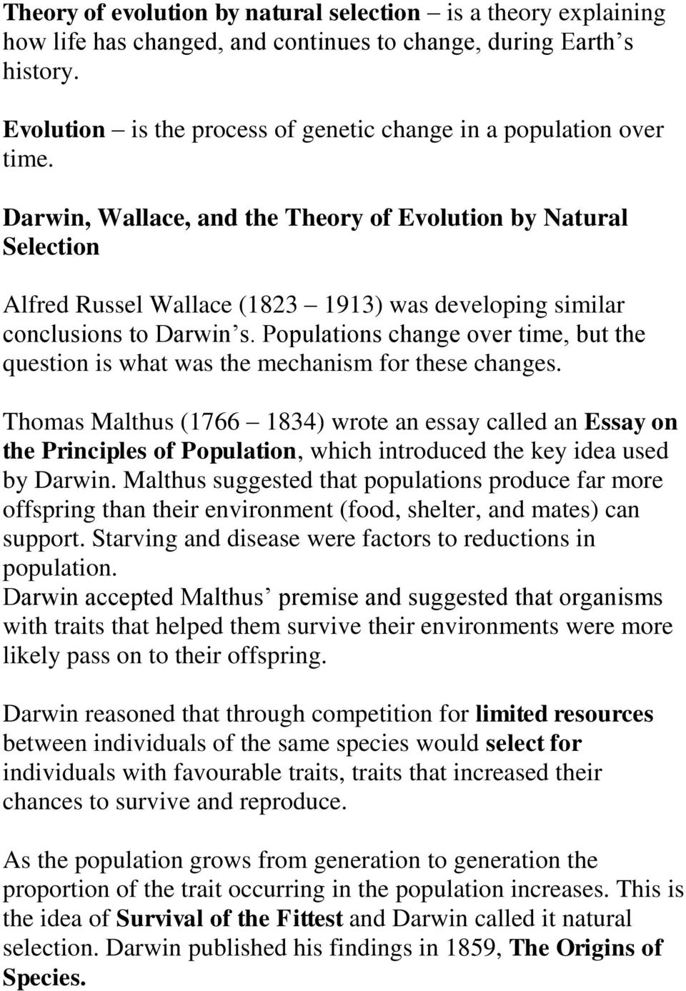 the evolution theory essay Theory of evolution essay examples 249 total results a history of the general  theory of evolution and the study of paleontology the process by which all.