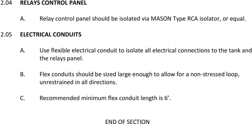 05 ELECTRICAL CONDUITS A.