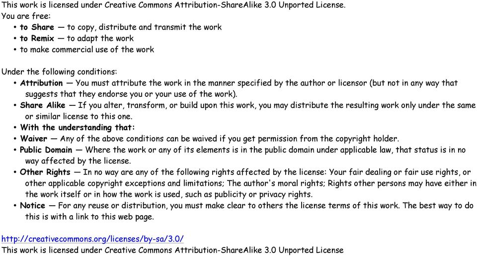 in the manner specified by the author or licensor (but not in any way that suggests that they endorse you or your use of the work).
