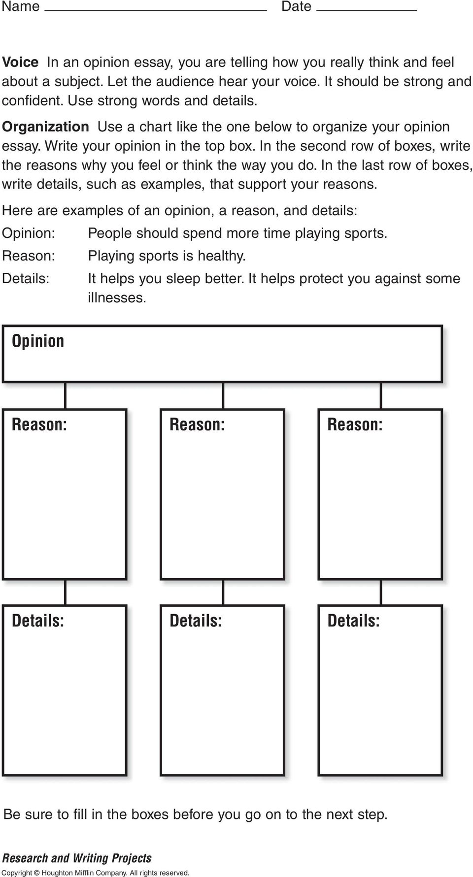 In the last row of boxes, write details, such as examples, that support your reasons. Here are examples of an opinion, a reason, and details: Opinion: People should spend more time playing sports.
