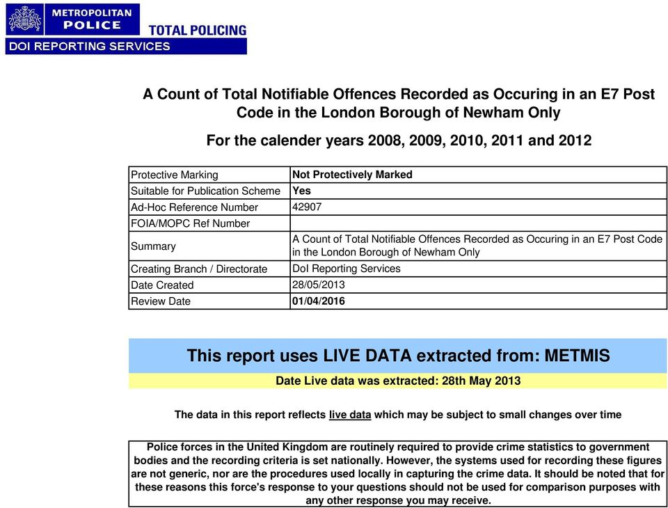Offences Recorded as Occuring in an E7 Post Code in the London Borough of Newham Only DoI Reporting Services 28/05/2013 01/04/2016 This report uses LIVE DATA extracted from: METMIS Date Live data was