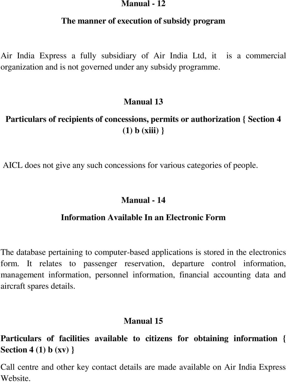 RTI Related information for Air India Express Website. Manual I ...