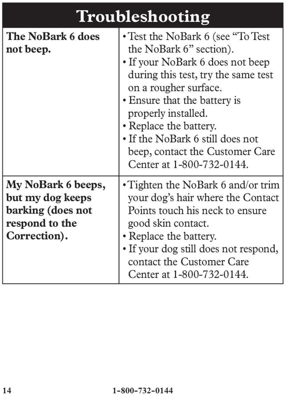 Ensure that the battery is properly installed. Replace the battery. If the NoBark 6 still does not beep, contact the Customer Care Center at 1-800-732-0144.